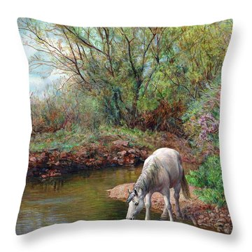 Beautiful White Horse And Enchanting Spring Throw Pillow by Svitozar Nenyuk