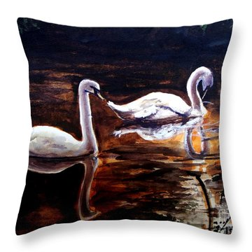 Throw Pillow featuring the painting Beautiful White Swans by Patricia L Davidson