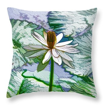 Beautiful White Water Lilies Flower Throw Pillow by Lanjee Chee