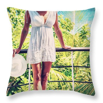 Beautiful Woman In The Beach House Throw Pillow