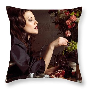 Beautiful Woman On A Festive Table Throw Pillow by Oleksiy Maksymenko