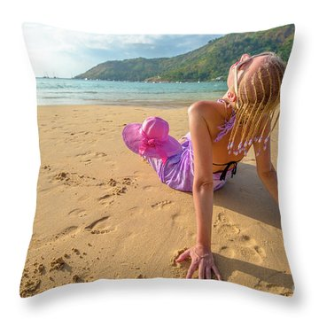 Beautiful Woman Sunbathing On Beach Throw Pillow
