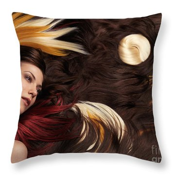 Beautiful Woman With Colorful Hair Extensions Throw Pillow by Oleksiy Maksymenko