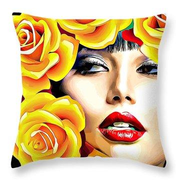 Beautiful Woman Yellow Roses Pop Art Throw Pillow