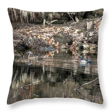 Throw Pillow featuring the photograph Beautiful Wood Ducks  by Betty Pauwels