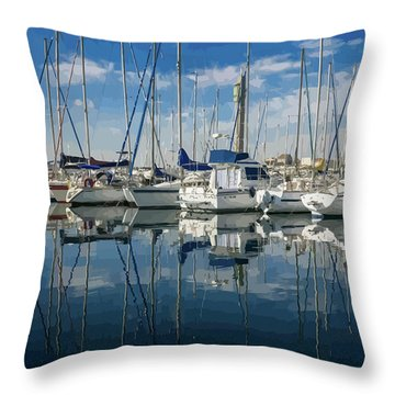 Beautiful Yachts Moored In The Marina Throw Pillow