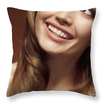 Beautiful Young Smiling Woman Throw Pillow by Oleksiy Maksymenko