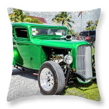 Throw Pillow featuring the photograph Beautifully Restored Green Hot Rod by Bob Slitzan