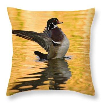 Wood Duck Sunset  Throw Pillow