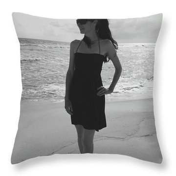 Beauty And The Beach Throw Pillow by Megan Cohen