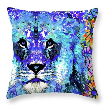 Beauty And The Beast - Lion Art - Sharon Cummings Throw Pillow by Sharon Cummings