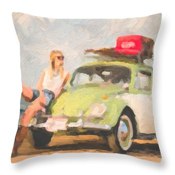 Throw Pillow featuring the digital art Beauty And The Beetle - Road Trip No.1 by Serge Averbukh