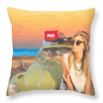 Throw Pillow featuring the digital art Beauty And The Beetle - Road Trip No.2 by Serge Averbukh