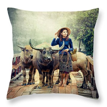 Beauty And The Water Buffalo Throw Pillow
