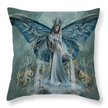 Beauty At Butterfly Falls Throw Pillow by Ali Oppy