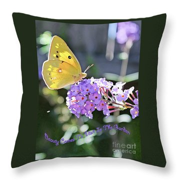 Beauty Comes To Visit Throw Pillow