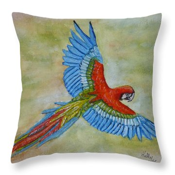 Throw Pillow featuring the painting Beauty In The Sky ... Parrot by Kelly Mills