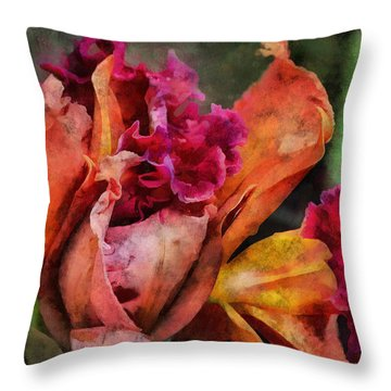 Throw Pillow featuring the mixed media Beauty Of An Orchid by Trish Tritz