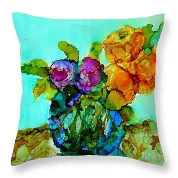 Throw Pillow featuring the painting Beauty Of Flowers by Priti Lathia