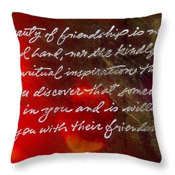 Beauty Of Friendship Throw Pillow by Angela L Walker