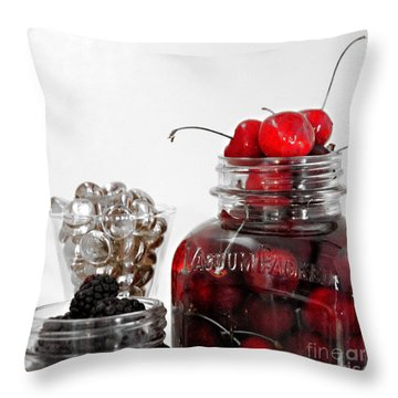 Beauty Of Red Cherries Throw Pillow