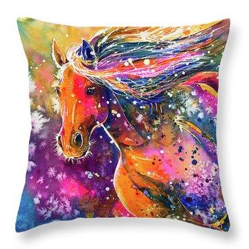 Throw Pillow featuring the painting Beauty Of The Prairie by Zaira Dzhaubaeva