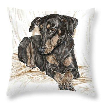 Beauty Pose - Doberman Pinscher Dog With Natural Ears Throw Pillow