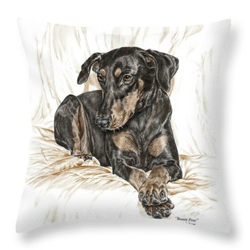 Throw Pillow featuring the drawing Beauty Pose - Doberman Pinscher Dog With Natural Ears by Kelli Swan