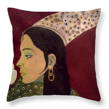 Beauty Queen Of The Mughals Throw Pillow