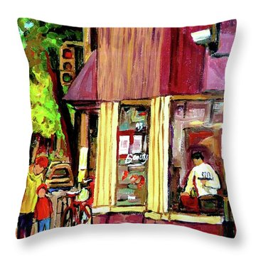 Beautys Luncheonette Montreal Diner Throw Pillow by Carole Spandau
