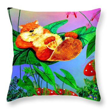 Beaver Bedtime Throw Pillow by Hanne Lore Koehler
