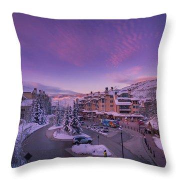 Beaver Creek Village Sunset Throw Pillow by Michael J Bauer