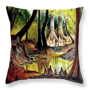 Beaver Dam On Village Creek Throw Pillow