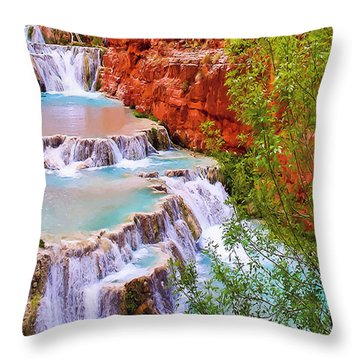 Beaver Falls Grand Canyon Painting Throw Pillow by Dr Bob Johnston