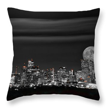Beaver Moonrise In B And W Throw Pillow by Kristal Kraft