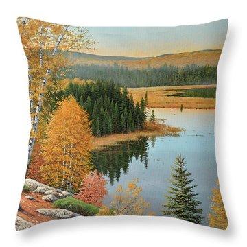 Beaver Pond Lookout Throw Pillow