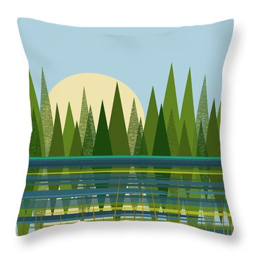 Beaver Pond - Vertical Throw Pillow by Val Arie
