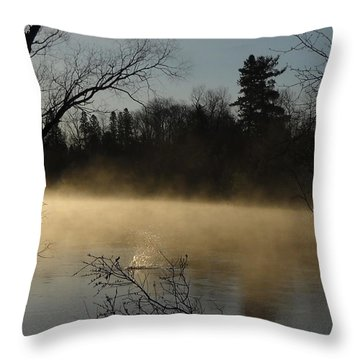 Beaver Splash In Mississippi River Throw Pillow by Kent Lorentzen