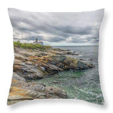 Beavertail Lighthouse On Narragansett Bay Throw Pillow
