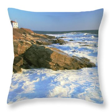 Beavertail Point And Lighthouse  Throw Pillow