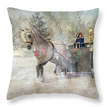 Because I Could Not Stop For Death Throw Pillow
