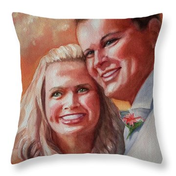 Becky And Chris Throw Pillow by Marilyn Jacobson