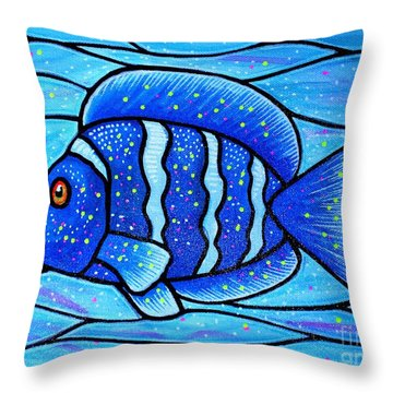 Throw Pillow featuring the painting Beckys Blue Tropical Fish by Jim Harris