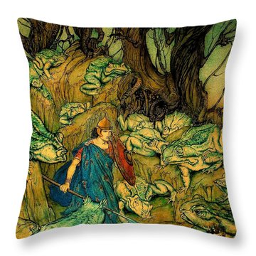 Throw Pillow featuring the painting Becuma Of The White Skin 1920 Medieval Irish Mythology by Peter Gumaer Ogden