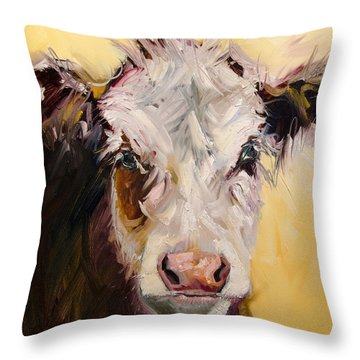 Bed Head Cow Throw Pillow