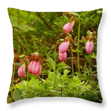 Bed Of Lady's Slippers Throw Pillow