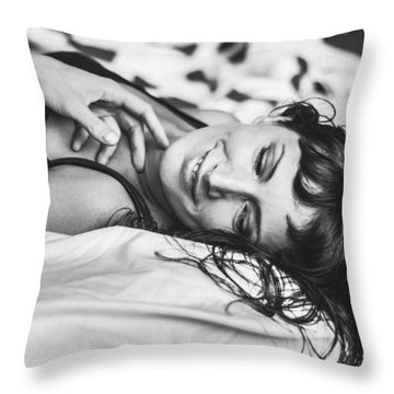 Bed Portraits Throw Pillow
