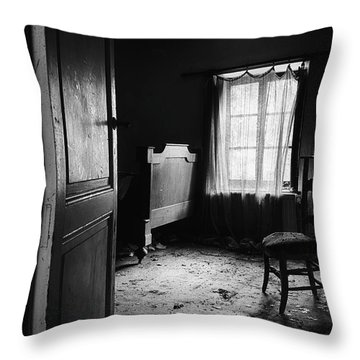 Throw Pillow featuring the photograph Bed Room Chair - Abandoned Building by Dirk Ercken
