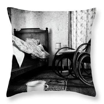 Throw Pillow featuring the photograph Bed Room Rocking Chair - Abandoned Building Bw by Dirk Ercken