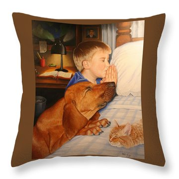 Throw Pillow featuring the painting Bed Time Prayers by Mike Ivey